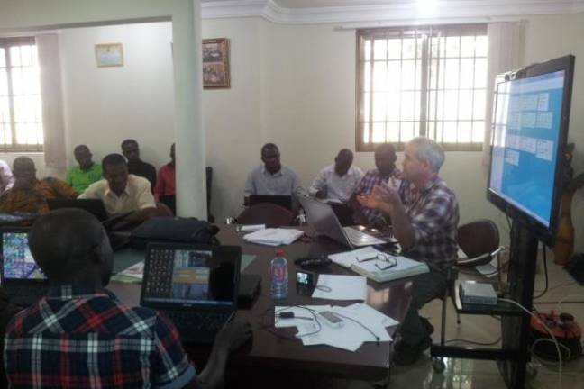 Adam Brett, Co-founder & Director of Fullwell Mill, providing database training to Internal Control System (ICS) Officers of Kuapa Kokoo in Ghana